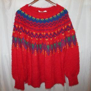 Holiday Winter Christmas Sweater RED - Wm XL